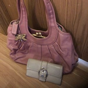 Coach Combo - Pink Purse and Cream Long Wallet